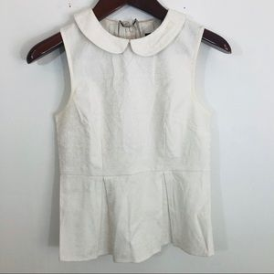 J Crew Jacquard Peplum Collared Blouse Top 2 White